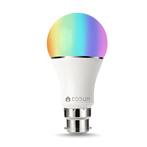 Smart LED Bulb Alexa, Google Home : WIFI Hue Light, B22 RGBW Colour Changing 60W Equivalent, Timing Function, Remote Controlled by IOS/Android Devices, No Hub Required, [Energy Class A+]- EDSUN HOMES