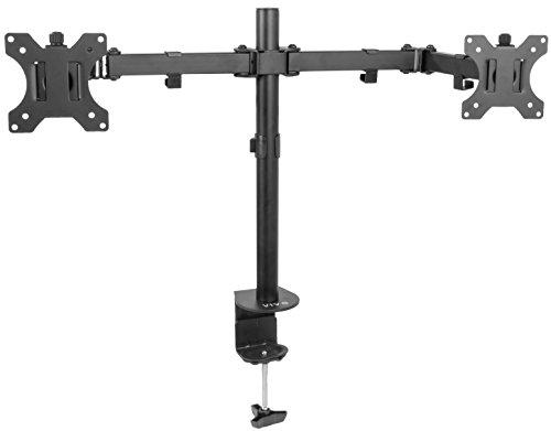 Vivo Full Motion Dual Monitor Tischhalterung VESA stehen, mit doppelter Artikulation Center Arm Gelenk | hält Zwei 33cm auf 76,2cm Bildschirme, (stand-v102) (Monitor Dual Arm Stand)
