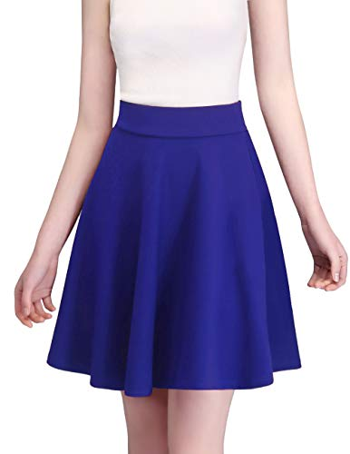bridesmay Damen Midi Rock Basic Solid vielseitige Dehnbaren informell Midikleid Retro Sexy Rock Faltenrock Midi-Royal-Blue ()