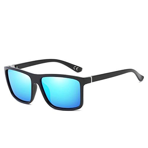 BVAGSS Herren Sonnenbrille Mit Polarisierte Gläser Outdoor Sportarten Schutz Brille UV-Schutz Fahrbrille (Black Frame With Blue Lens)