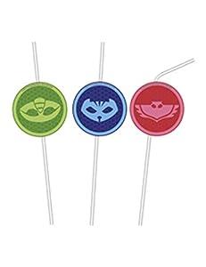 Procos - Pack de 6 pajitas con medalla superpijamas, talla única, multicolor, PR89444