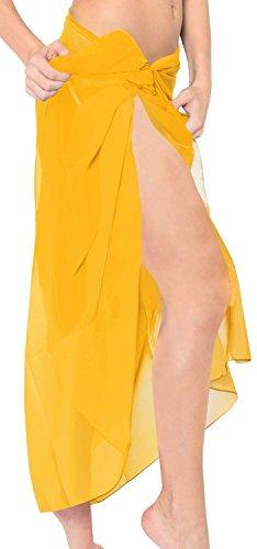 LA LEELA Sarong Pareo 10 solide Farben vorhanden Wickelrock Strandtuch Tuch Wickeltuch Handtuch Damens Badmode Tunika Gelb