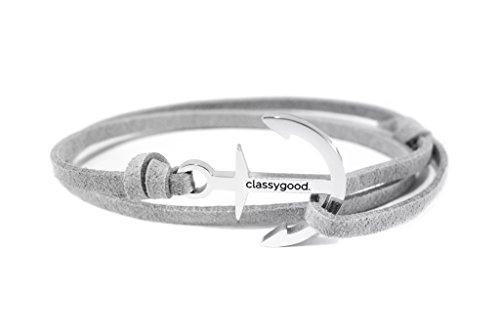 classygood-Anker-Armband-Classy-Bracelet-Edelstahl-silber-Leder-Band-grau-fr-DamenHerren