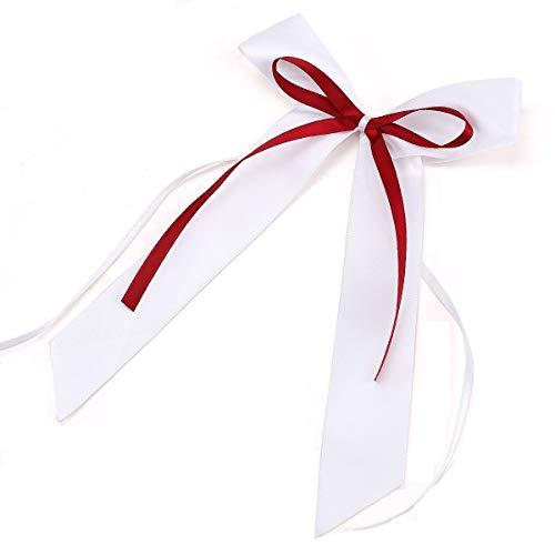 SCHÖNKAUF 30 x hochwertige Handgemacht Weiss Antenneschleifen mit weinrot Band aus Satin, Auto Schleifen, Hochzeit Deko, Autoschmuck