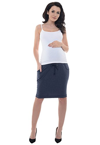 Purpless Maternity Bequeme Schwangerschaft unter und uber Bump Rocke 1500 (36, Navy Melange) (Mutterschaft T-shirts Bump)