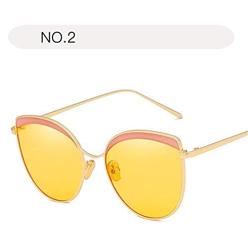 Damensonnenbrille Classic Aviator Mirror Face UV400 Schutz Metallrahmen Sonnenbrille Brille (Farbe : NO.2, Größe : Free Size)