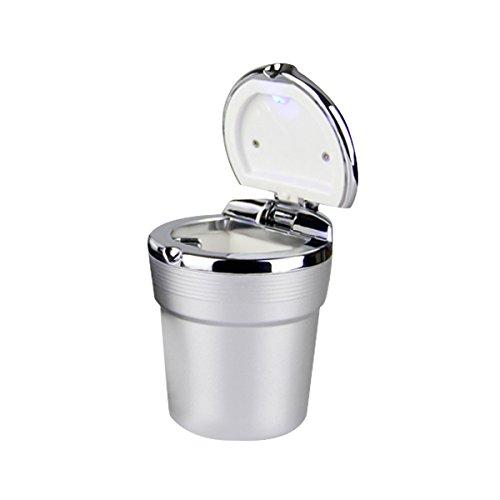 Preisvergleich Produktbild YSM Auto-Zigaretten-Aschenbecher Tragbare Edelstahl Auto Fahrzeug Asche mit blauem LED-Licht Smokeless Ständer Zylinder-Becherhalter (grau)