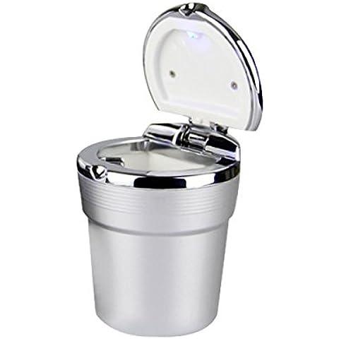 YSM Auto Sigaretta Posacenere Posacenere Portatile Sigaretta con la Luce Blu Del LED Holder Senza Fumo Cup Argento - Cup Holder Posacenere