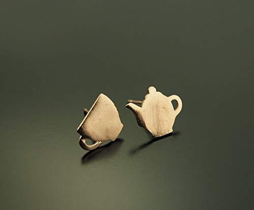 Ohrstecker Kaffee Kanne Tasse rosé golden Ohrringe Stecker
