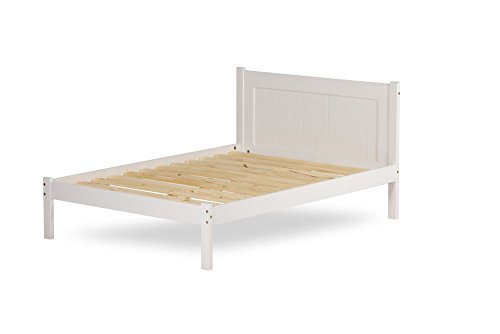 Happy Beds Clifton White Finish Wooden Pine Bed Furniture Bedroom with Flex 1000 Orthopaedic Mattress 5' King Size 150 x 200 cm
