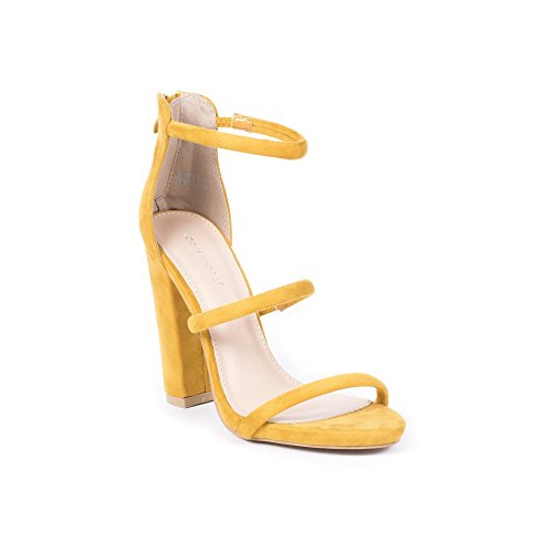 Ideal Shoes Sandales à Talon Carré Effet Daim laurella Jaune