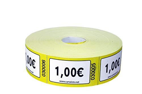 CARTALOTO - Rollo de 1000 Etiquetas (Valor 1,00€ -Amarillo, BITR1001, Multicolor)