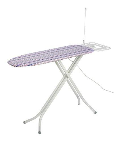 axentia Bügeltisch in Weiß mit gemustertem Bezug, höhenverstellbares Bügelbrett, Dampfbügeltisch mit dampfdurchlässiger Bügelfläche, Höhe: ca. 76-92 cm, Bügelfläche: ca. 120 x 38 cm