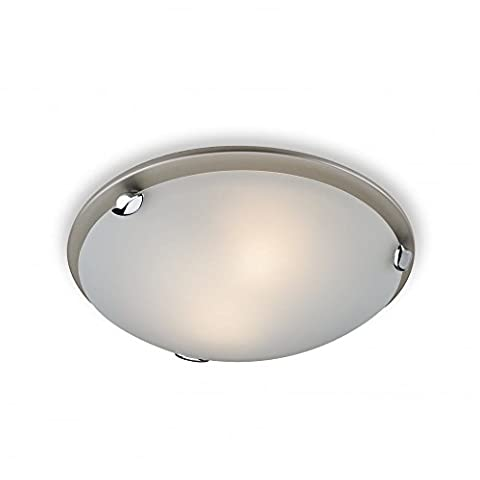 Traditional Stain Steel flush ceiling light, 1 Bulb, Frosted Glass (Champagne Satin Steel Flush Ceiling Fitting), FLF350SSI4L | ideas4lighting