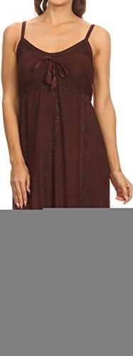 Sakkas 152105 - Allie Stonewashed gestickte verstellbare Spaghetti-Trägern langes Kleid - Schokolade - L/XL