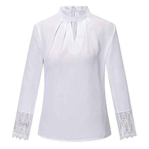 LuckyGirls Tee Shirts Femme Chic Mousseline Fleur Dentelle Patchwork Haut Épaules Nues Tops Décontractée Loose Blouse T-Shirts - Maxi - 5XL (XXX-Large, Blanc B)