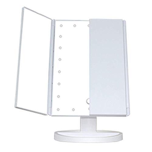 Tríptico Maquillaje Espejo con Luces, Recargable LED Iluminado 2 X 3x Aumento Iluminado Cosmético...