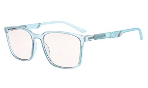 Eyekepper Blaulicht blockierende Brillen Bernstein getönt Computer Brille großen Rahmen mit speziellen Frühling Scharniere Männer Frauen (Blau, 0.00)