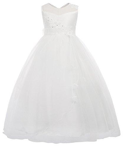 Danna Belle Maedchen Weiss Kommunion Kleid Blumenmaedchen Kleid 15-16 Jahre DB13-1
