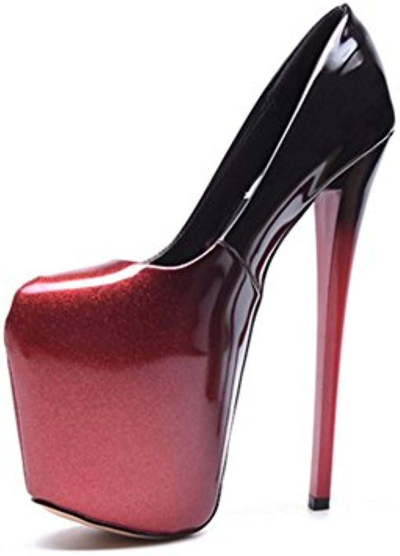 e28cdfb0b10164 nvxie high heeled avec 20 20 20 cm des chaussures de femmes noires et  rouges des ...