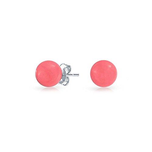 Einfache Runde Kugel Kreis Natürliche Gefärbt Rosa Korallen Ohrstecker 925 Sterling Silber 6MM Für Damen