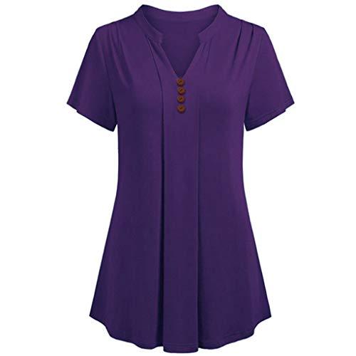 Plus Kurzarm V-Ausschnitt Loses T-Shirt Lässige Tunika Tops Bluse Multi-Color Optional ()