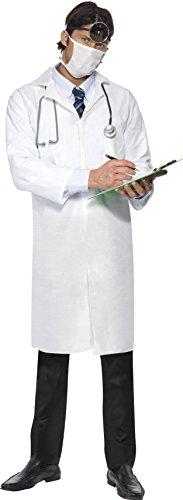 Smiffys Herren Doktor Kostüm, Kittel und Mundschutz, Größe: M, 22192 (Kittel Halloween-kostüm)