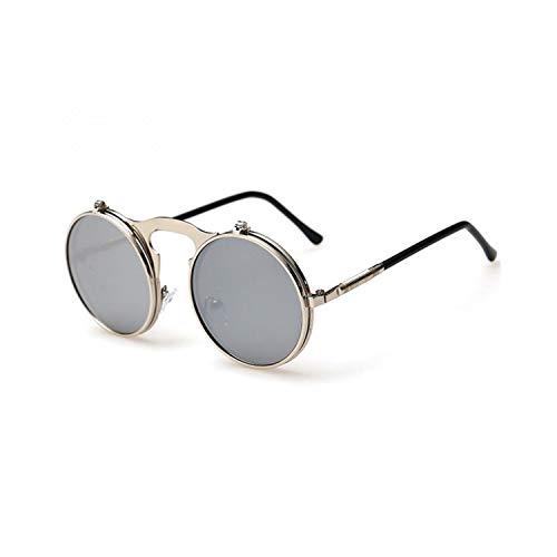 Sport-Sonnenbrillen, Vintage Sonnenbrillen, Fashion Retro Round Sunglasses Women Unisex Brand Designer Vintage Punk UV Resistant Sun Glasses Men,Oculos Feminino,Steampunk Silver