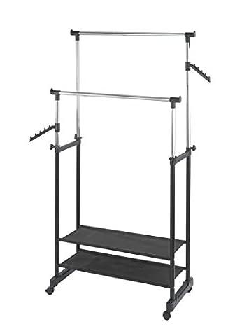 Wenko Kleiderständer All In, Rollbare Garderobe aus verchromtem Metall mit 2 verstellbaren Kleiderstangen, Belastbar bis 50kg, 89,5 x 117-169 x