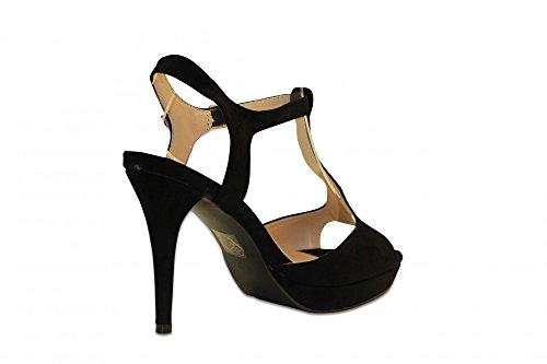 Moderne Chaussures Femme Stiletto Sandales à talons hauts Sandales pour femme avec plateau Leash Peeptoes Noir Noir