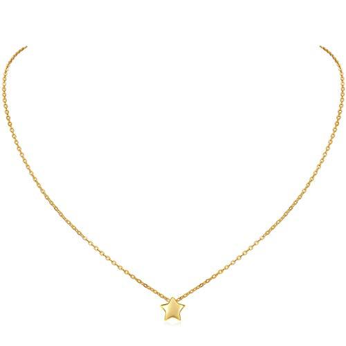 ChicSilver Medalla Forma Estrella Cinco Puntos para Collar de Novia Plata de Ley 925 Oro Amarillo 18K Joyerías Elegantes con Acabado Púlido