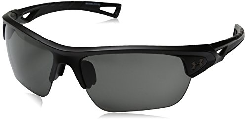 Under Armour UA Octane Wrap Sunglasses, UA Octane Satin Black/Black Frame/Gray Lens, M/L