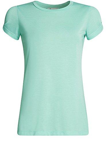 oodji Ultra Damen Gerades T-Shirt mit Schlitz auf Den Schultern Grün (6500N)