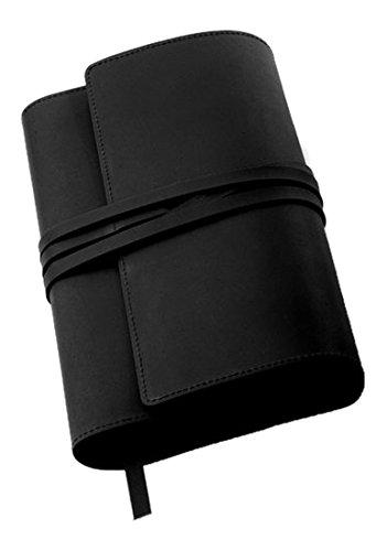 Preisvergleich Produktbild MILANO Lederbuchhülle L schwarz: Variable Buchhülle aus echtem Rindsleder für Bücher bis 24,5 cm Höhe.