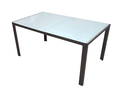 Gartentisch Esstisch Alu Tisch Gartenmöbel GM7 150x90cm Milchglas