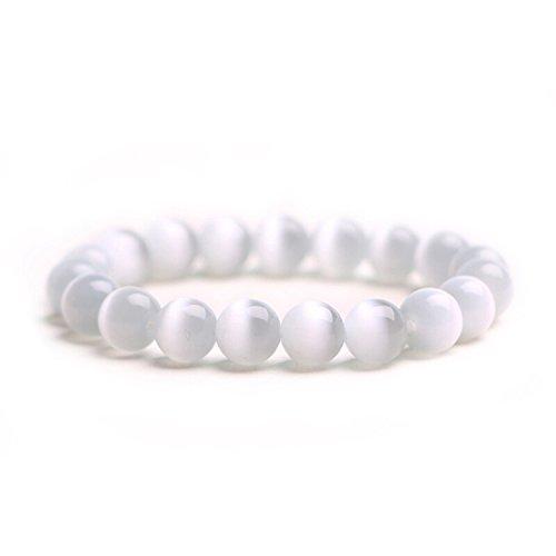 J.Fée Damen Armbänder Herren Armbänder 8mm Edelstein Perlen Armband Kristall Armband Stein Armband Weißes Katzenauge Armband Yoga Armband Geschenk für Abschluss,Jubiläum,Geburtstag, Weihnachtstag