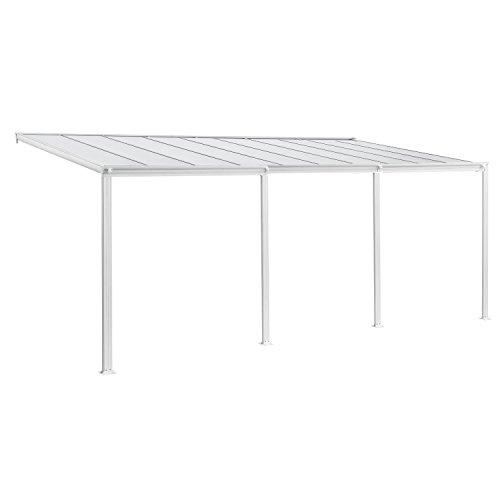 Juskys Aluminium Terrassendach Borneo 6×3 m weiß-transparent | Terrassenüberdachung mit Doppelsteg-Platten | Sonnenschutz Vordach