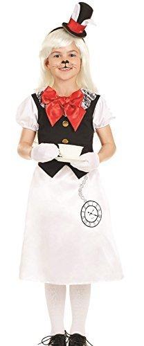 Mädchen Weißen Kaninchen Alice im Wunderland Schule Welttag Des Buches-tage-woche Character Kostüm Kleid Outfit 6-12 jahre - Weiß, 6-8 (Kostüm Im Alice Wunderland Kaninchen Kind)