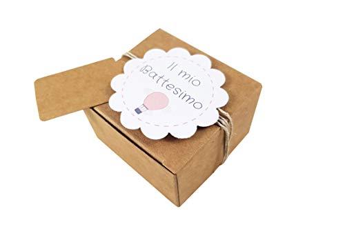 Irpot 20 x scatolina portaconfetti avana pudp22+20 etichette fiore (grafiche assortite) (battesimo rosa)