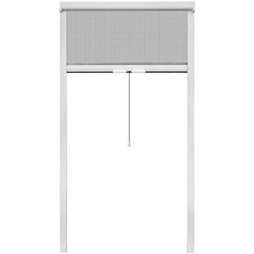 vidaXL Mosquitera blanca enrollable para ventanas, 100 x 170 cm