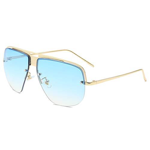 YHgiway Retro Classic Aviator Sonnenbrille für Männer Fashion Gradient Lens Shades Sun Brillen Halb-Rahmen mit Case YH7155,GoldFrame/BlueGradientLens