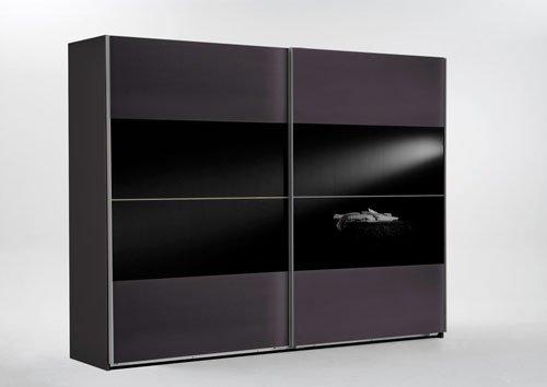 Schwebetürenschrank in Lava-Anthrazit/Grau mit Absetzungen in Schwarzglas, Maße: B/H/T/ ca. 270/210/65 cm