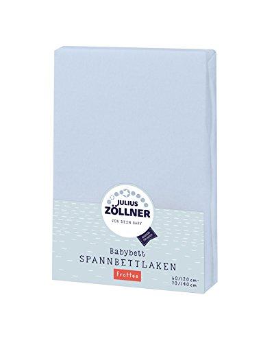 Julius Zöllner 8300113350 - Spannbetttuch Frottee für Kinderbett, Größe: 60x120 cm / 70x140 cm, Farbe: hellblau