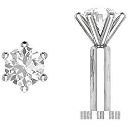 3.00mm Sim. Diamond Solitaire Lip Labret Nose Bone Screw Piercing Stud Ring Pin