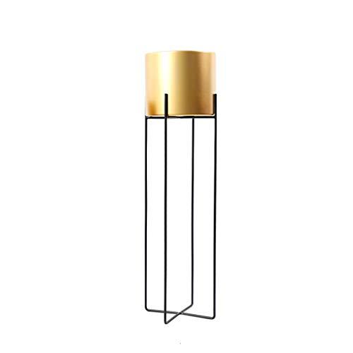 CXQ Moderner minimalistischer Schmiedeeisen-Blumen-Standplatz-im Freien Innenwohnzimmer-Goldener Blumen-Topf Boden-stehendes Metallgrün-Stalk-Korb-Blumen-Topf-Regal (Size : L) - Moderne Set Podest