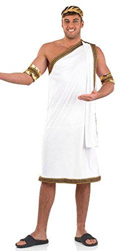 Herren - Julius Cäsar Kostüm: Römische Toga in Weiß mit Goldrand - Weiß, L (Römische Caesar Kostüm)