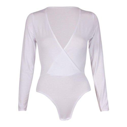 Nouveaux Femmes Grande Taille Plunge long cou Body manches Hauts 36-50 white