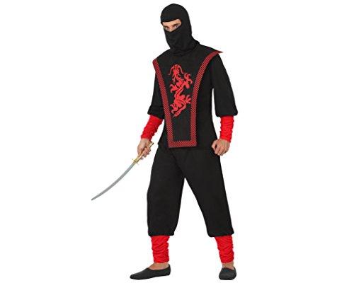 Atosa- Disfraz ninja, Color negro, XL (17324)