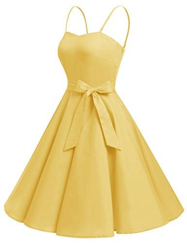 Bbonlinedress Vintage 50s 60s Retro Rockabilly Cocktailkleid mit abnehmbarem Schultergurt Yellow