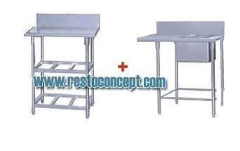 Restoconcept - Table Inox Pour Lave Vaisselle À Capot Ensemble Table Et Plonge Inox (Xw-200S)